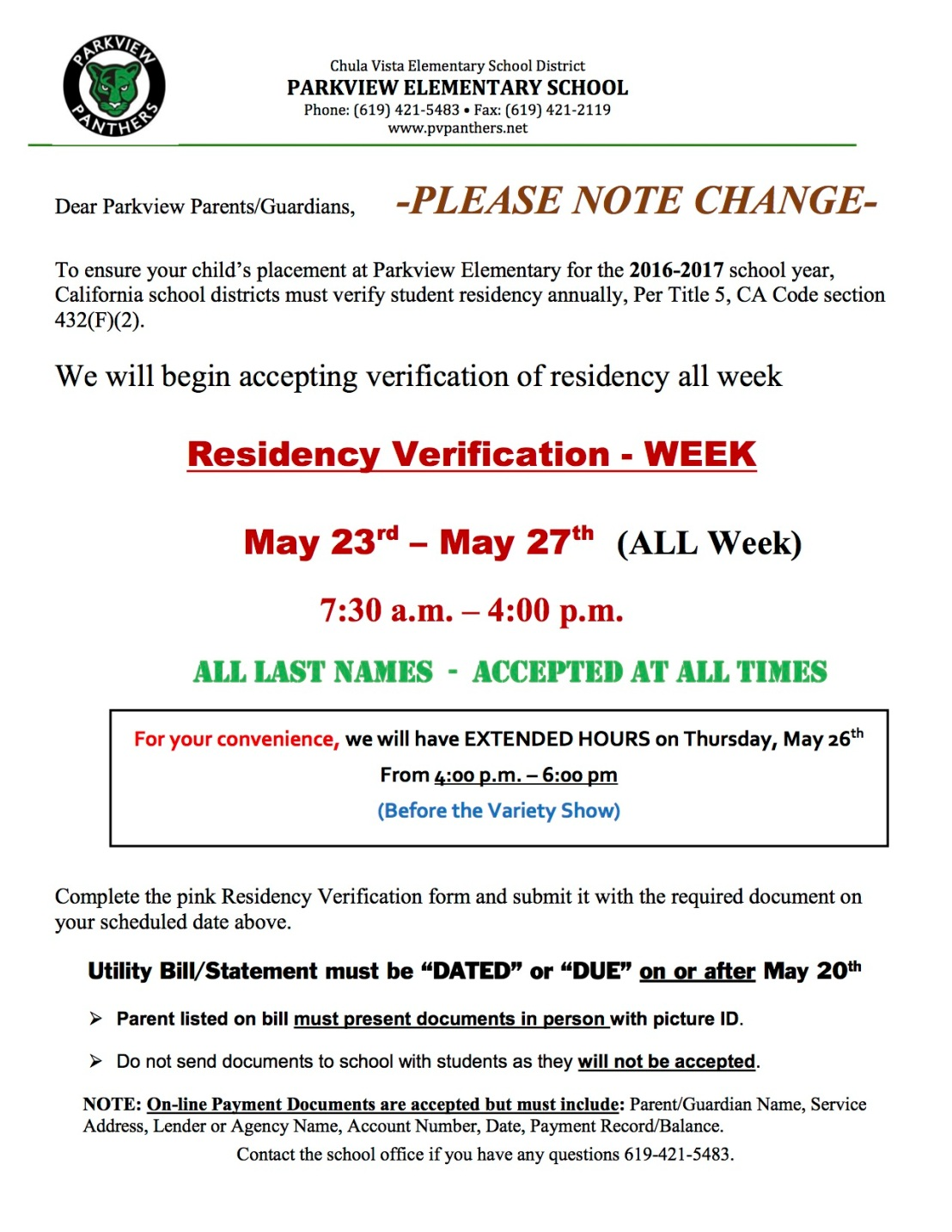 2016-17 Residency WEEK Notice